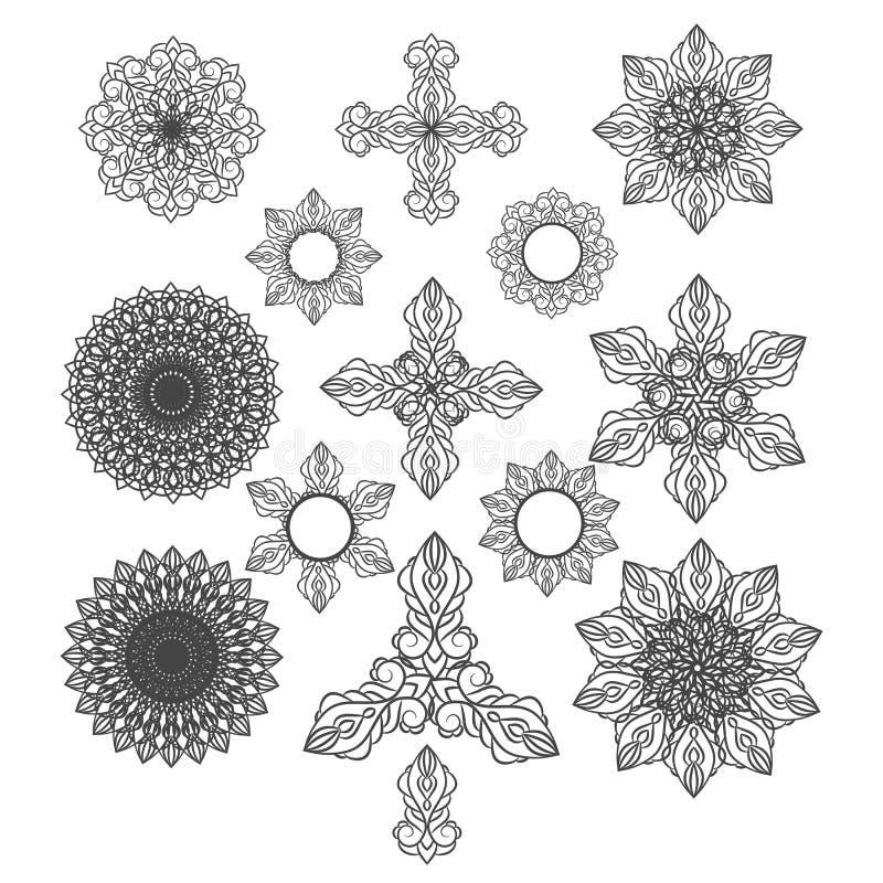 Картины орнамента мандал элементы eps круглой винтажные декоративные иллюстрация вектора