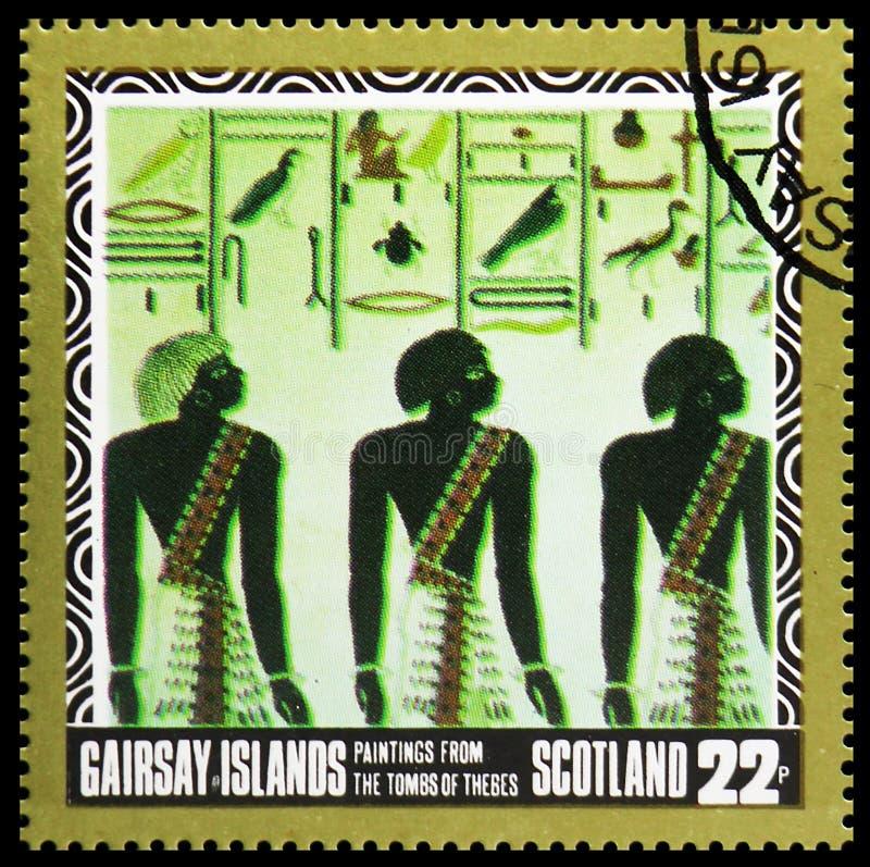 Картины от усыпальниц Thebes, serie Staffa Шотландии, около 1980 стоковые фото
