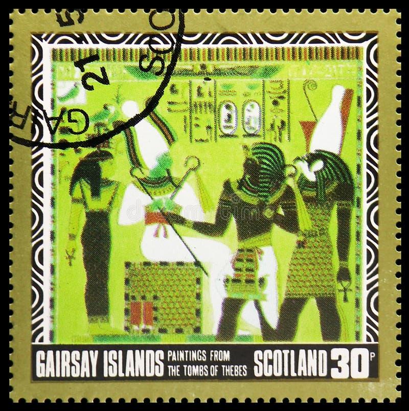 Картины от усыпальниц Thebes, serie Staffa Шотландии, около 1980 стоковое изображение