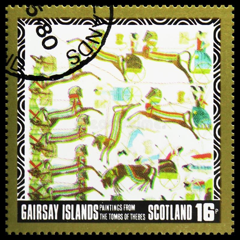 Картины от усыпальниц Thebes, serie Staffa Шотландии, около 1980 стоковые фотографии rf