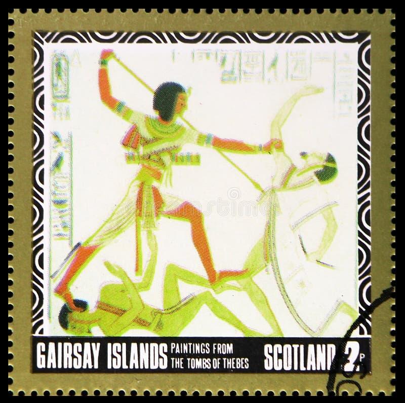 Картины от усыпальниц Thebes, serie Staffa Шотландии, около 1980 стоковое изображение rf
