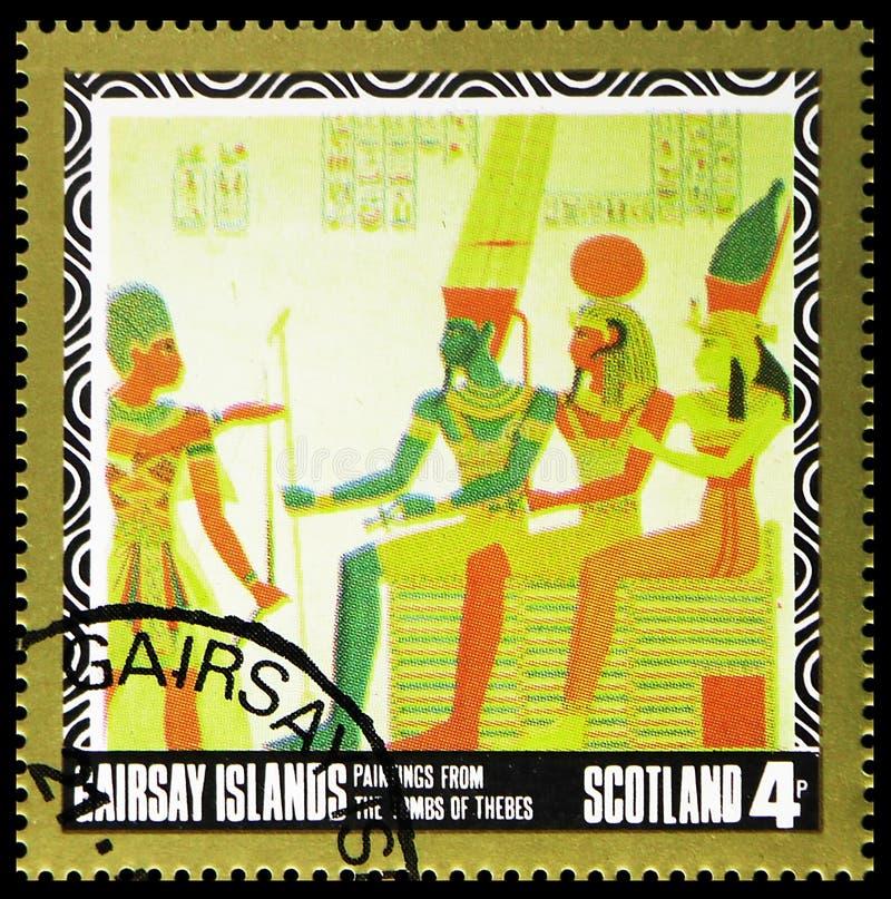 Картины от усыпальниц Thebes, serie Staffa Шотландии, около 1980 стоковое фото rf