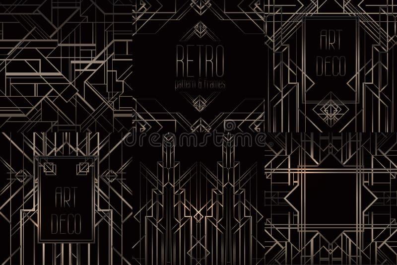 Картины стиля Арт Деко винтажные и элементы дизайна Ретро geome партии иллюстрация вектора
