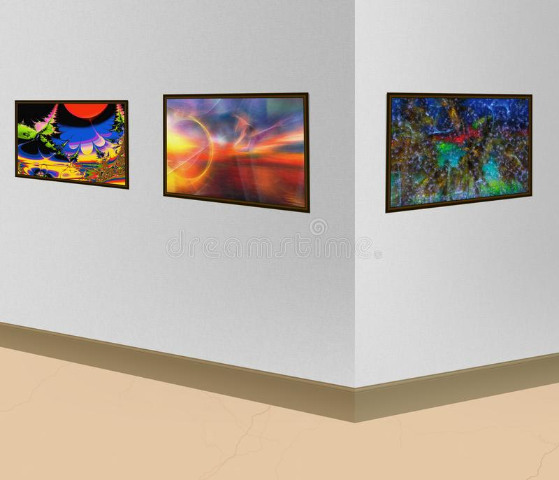 3 картины с абстрактным изображением висят на стене i стоковые изображения rf