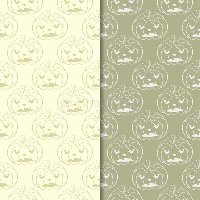 Картины тыквы хеллоуина Предпосылки прованского зеленого цвета безшовные иллюстрация штока