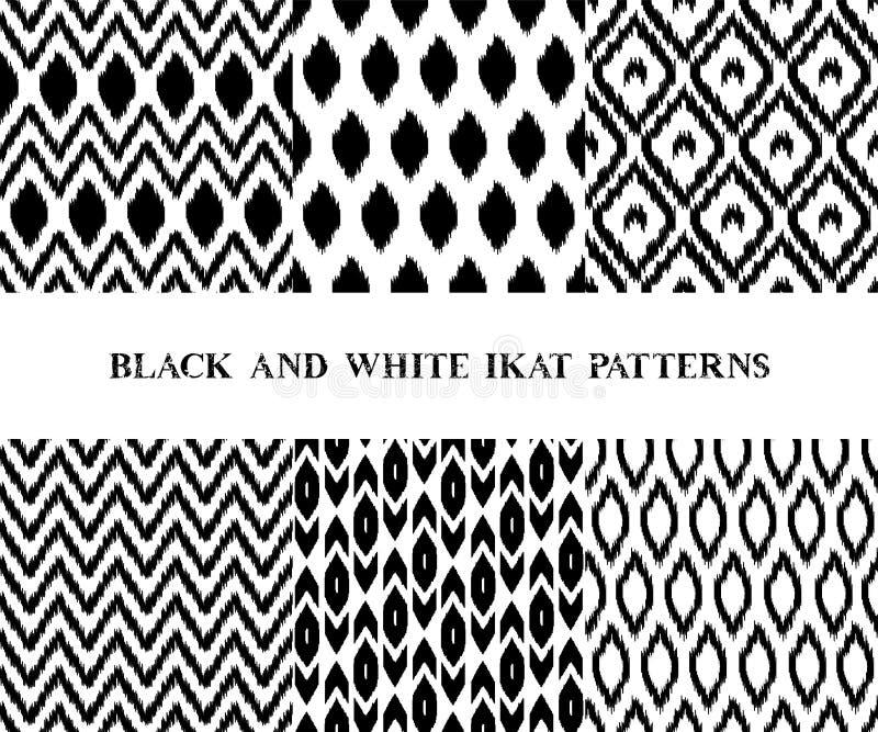 Картины черно-белой геометрической ткани ikat азиатской традиционной безшовные установили 6, вектор иллюстрация вектора