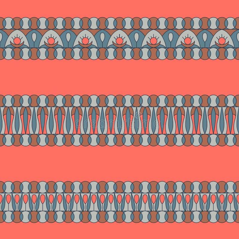 Картины элементов украшения границы Установите горизонтальных орнаментов сделанных в модных цветах 2019 бесплатная иллюстрация