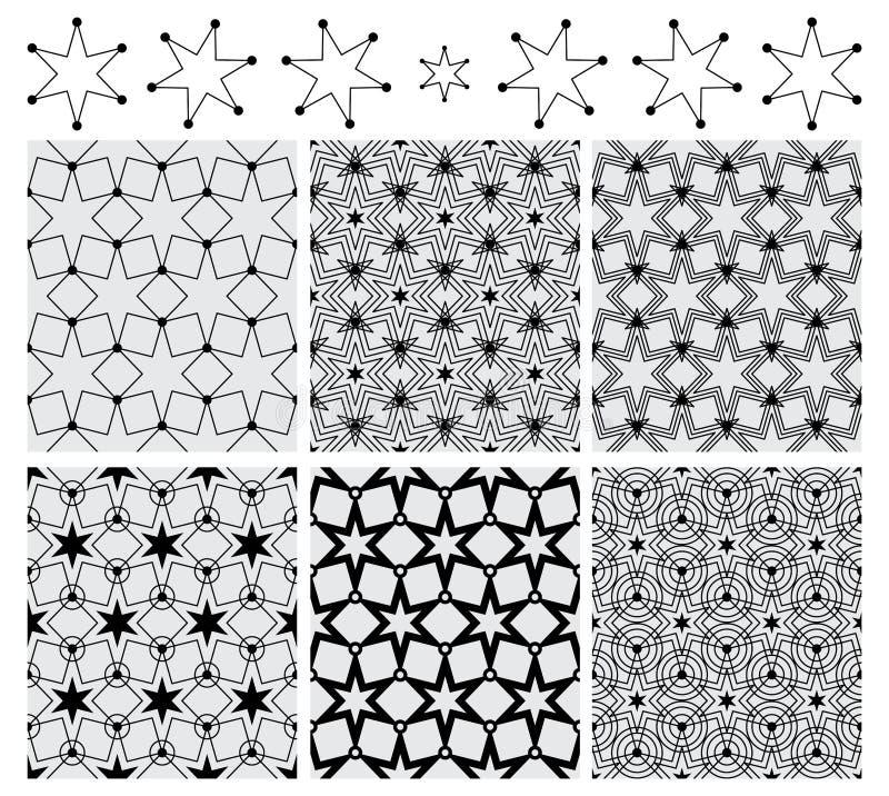 6 картин симметрии круга звезды установленных черных безшовных иллюстрация штока