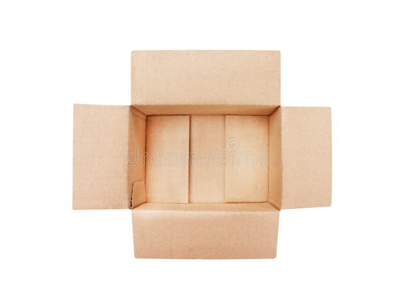 Картонная коробка взгляда сверху открытая пустая коричневая изолированная на белой предпосылке с путем клиппирования стоковое изображение