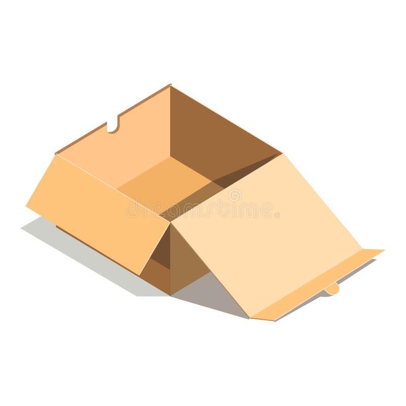 Картонная коробка пустой бумаги открытая изолированная на белом векторе предпосылки иллюстрация вектора