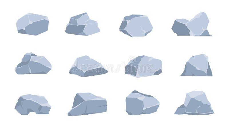Картонные камни Уголь и серый камень, плоские изометрические 3D-валуныны и обрывы различных форм Векторный геометрический полигон бесплатная иллюстрация
