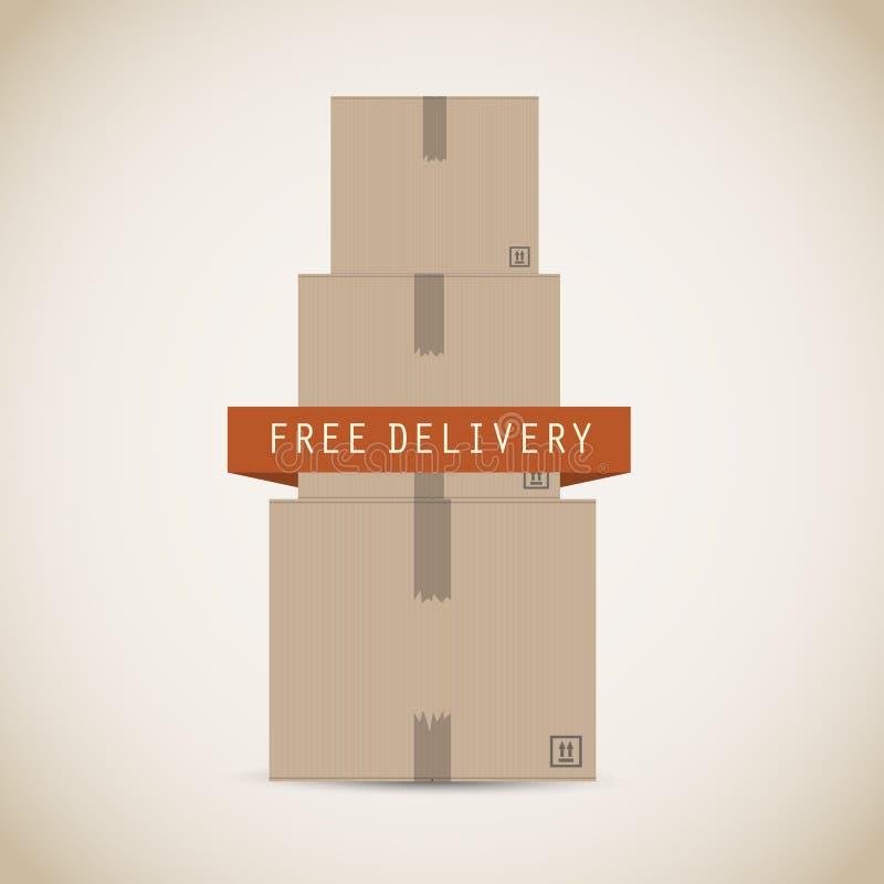 Картонные коробки бесплатной доставки бесплатная иллюстрация