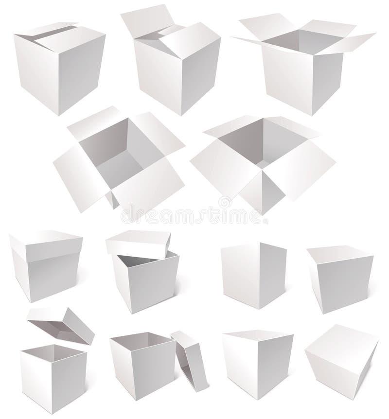 Картонные коробки изолированные на белой предпосылке иллюстрация вектора