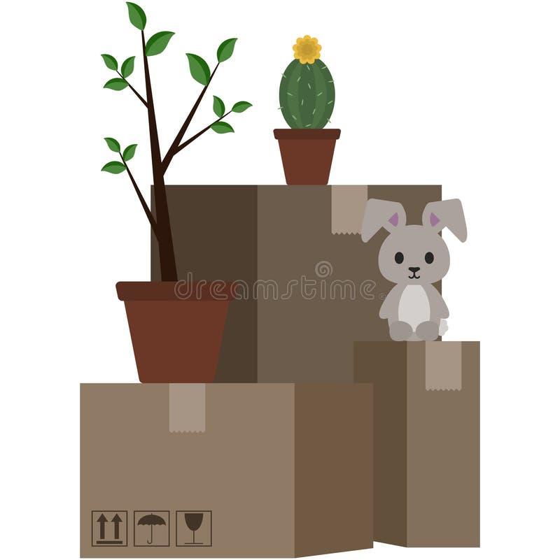 Картонные коробки и иллюстрация личных вещей иллюстрация штока