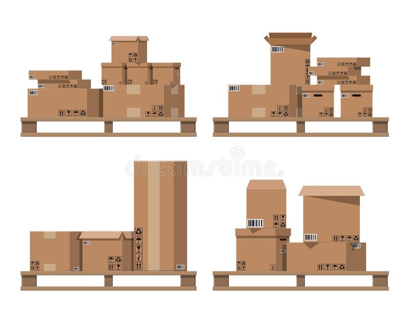 Картонные коробки кучи на деревянных паллетах бесплатная иллюстрация