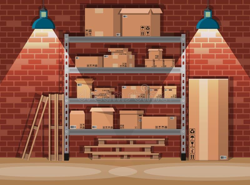 Картонные коробки кучи на полках в складе бесплатная иллюстрация
