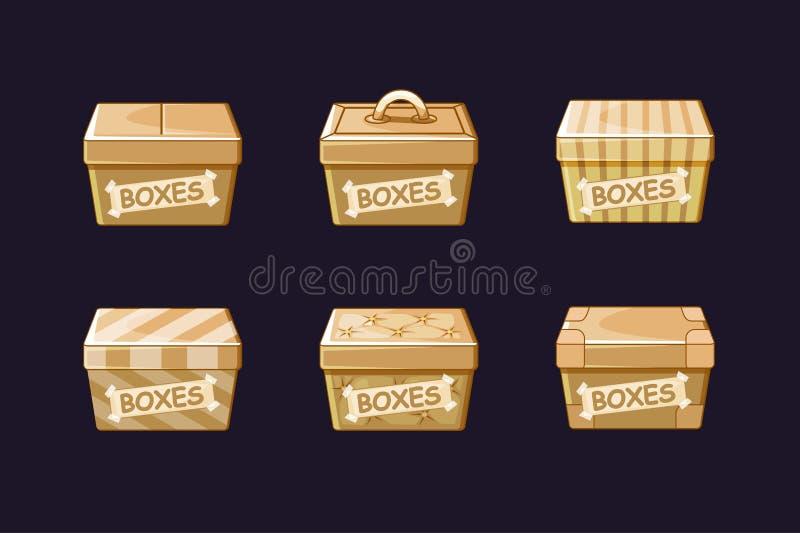 Картонные коробки мультфильма различные, векторы пакуя, объекты бесплатная иллюстрация