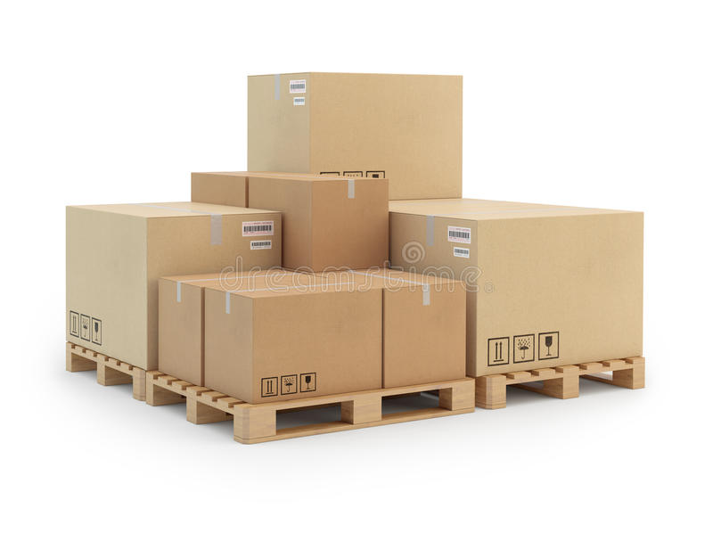 Картонные коробки на паллете.  на белой предпосылке. бесплатная иллюстрация