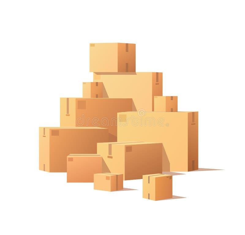 Картонные коробки пакета кучи штабелировали загерметизированные товары иллюстрация штока