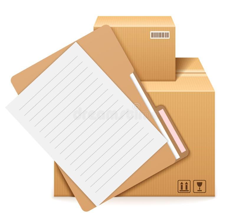 2 картонные коробки, папка и формы иллюстрация штока