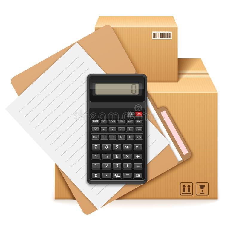 2 картонные коробки, папка, форма и калькулятора иллюстрация вектора