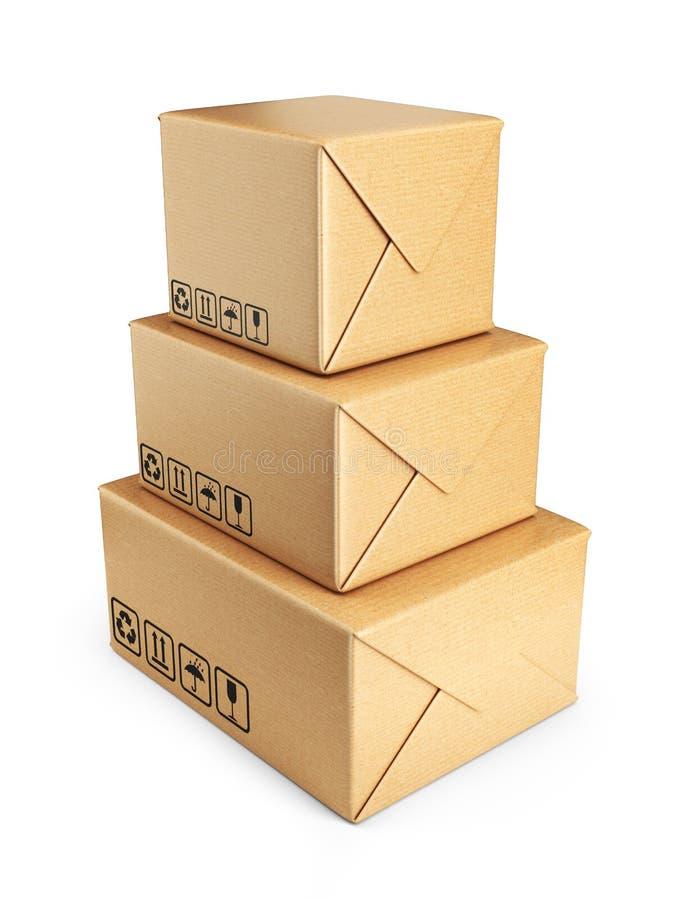 Картонные коробки. Поставьте концепцию. изолированный значок 3D иллюстрация штока