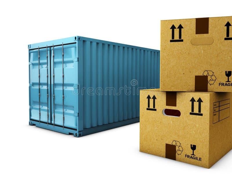 Картонные коробки при контейнер изолированный над белой предпосылкой, иллюстрация штока