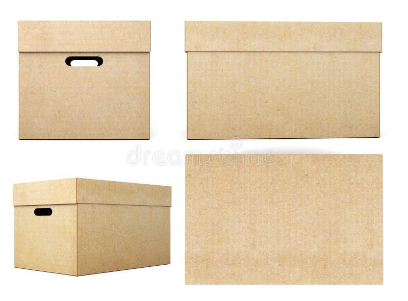 Картонные коробки с различными углами на белой предпосылке 3d иллюстрация вектора