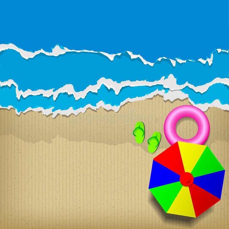 Картон пляжа иллюстрация вектора