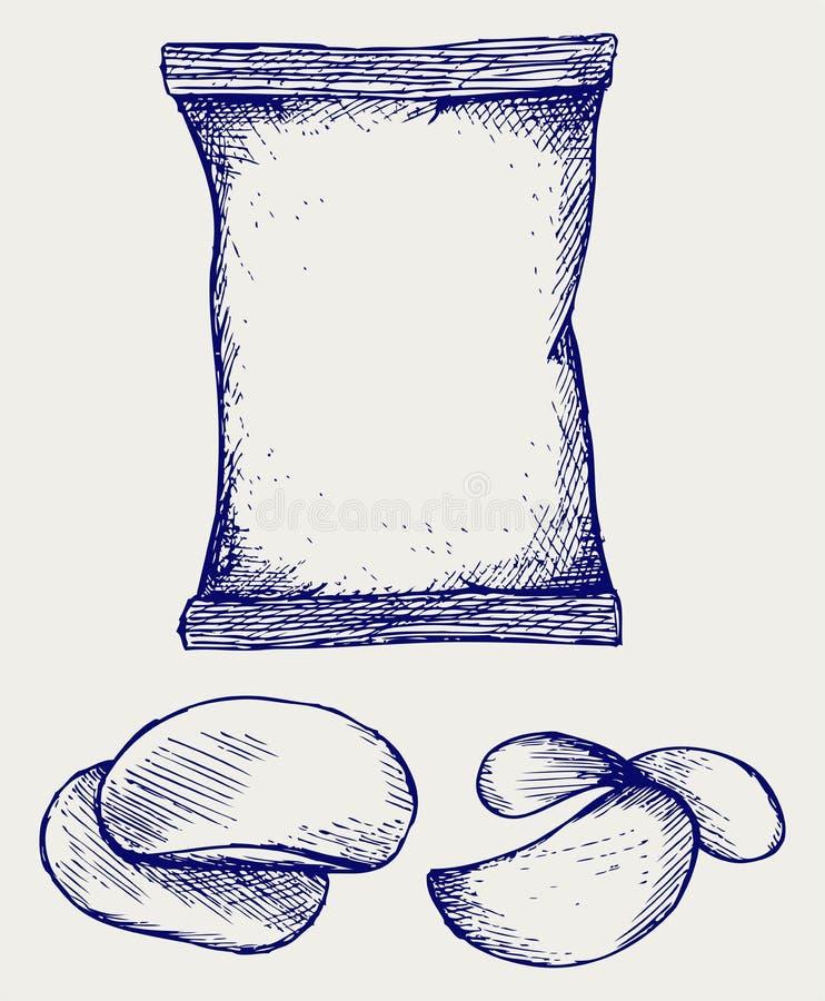 Картофельные стружки и упаковывать иллюстрация штока