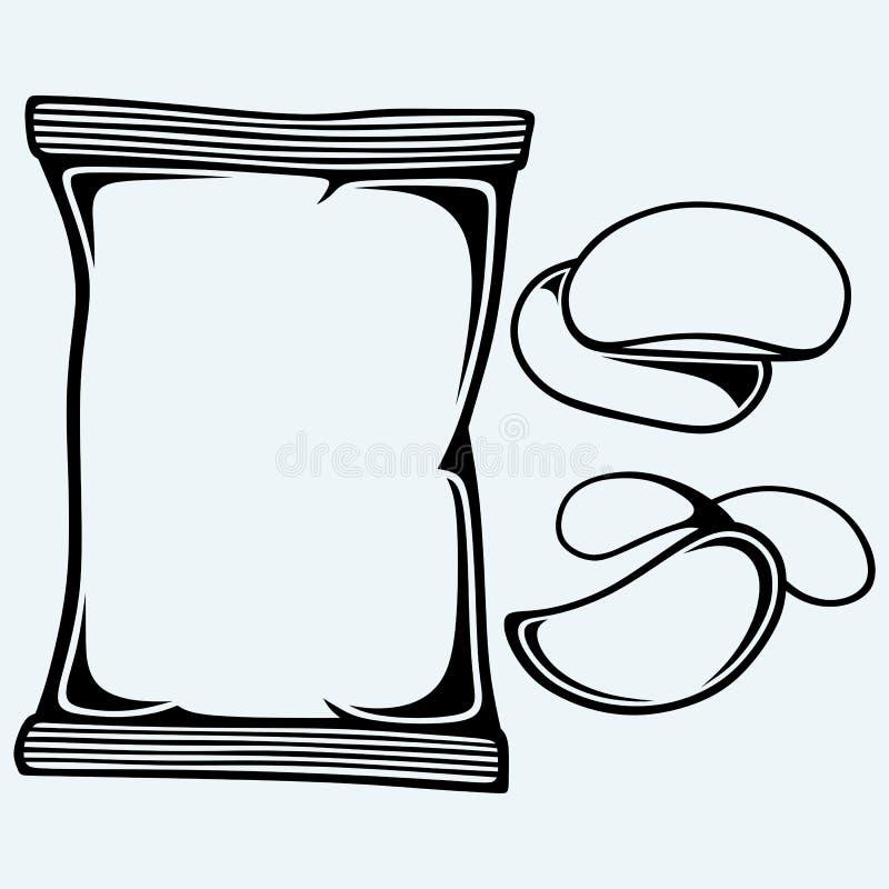Картофельные стружки и упаковывать иллюстрация вектора