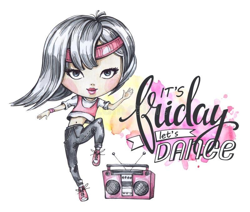 Карточка акварели с девушкой boombox и танцев Каллиграфия формулирует пятницу, танец иллюстрация штока