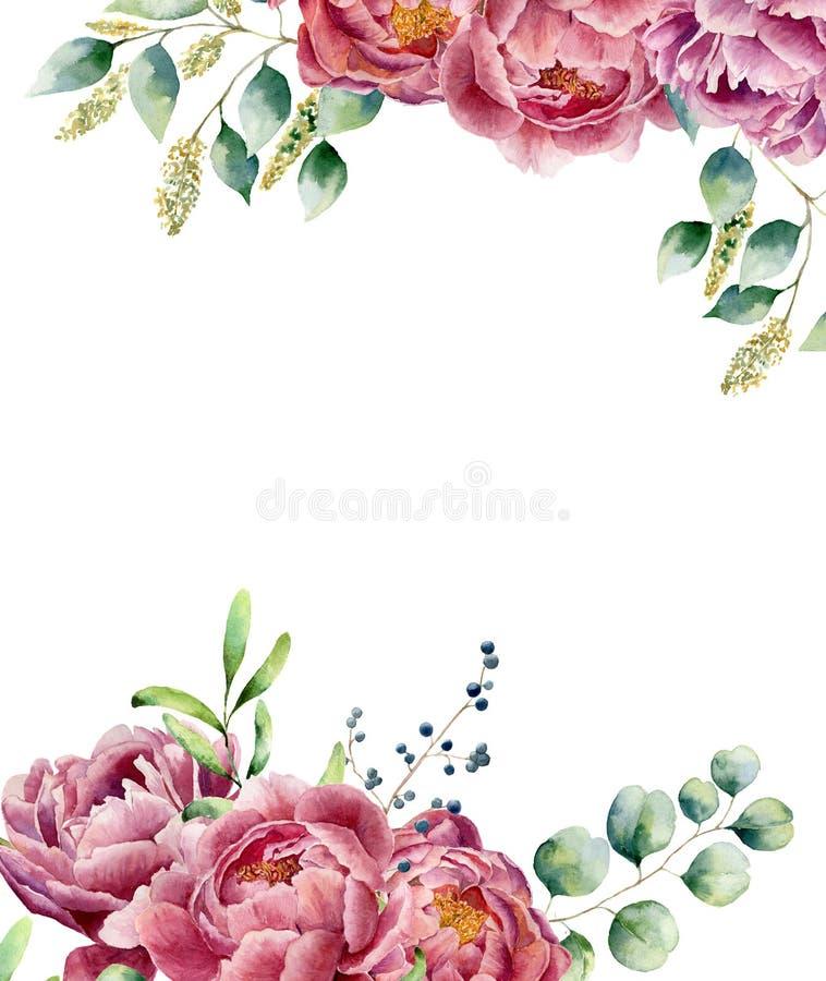 Карточка акварели флористическая изолированная на белой предпосылке Винтажный posy стиля установил с ветвями евкалипта, пионом, b иллюстрация вектора