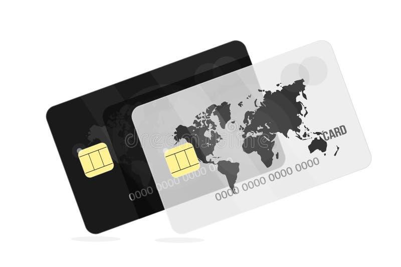 Карточка банка черная белизна Для применения или вебсайта банка иллюстрация вектора