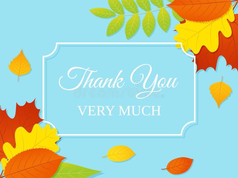 карточка благодарит вас также вектор иллюстрации притяжки corel крупный план предпосылки осени красит красный цвет листьев плюща  иллюстрация вектора