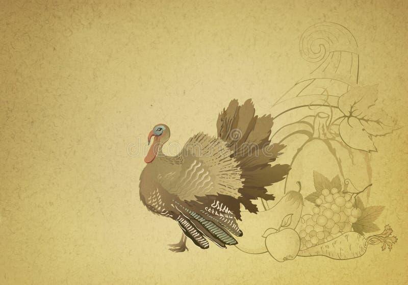 Карточка благодарения с индюком иллюстрация вектора