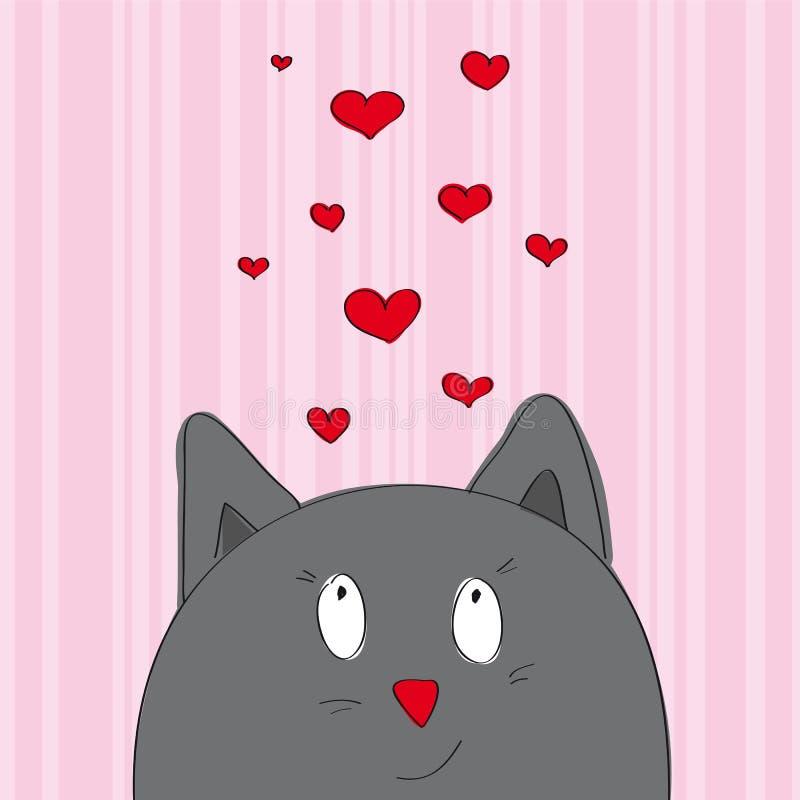 Карточка валентинки при серый кот смотря от внизу страницы иллюстрация вектора