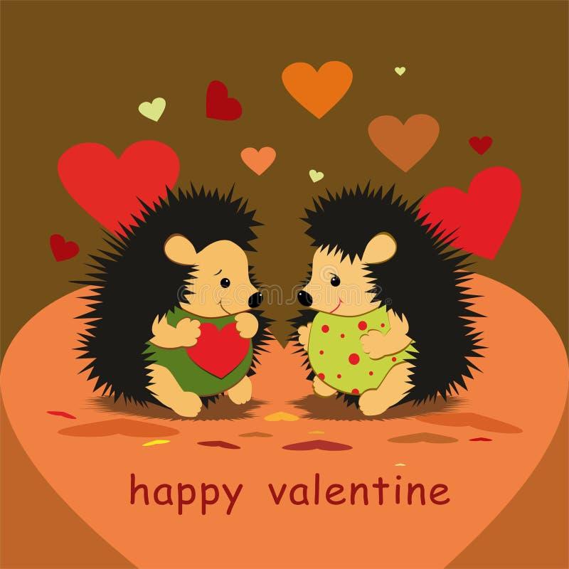 Карточка валентинки с любовниками ежей и сердцами - вектором иллюстрация вектора