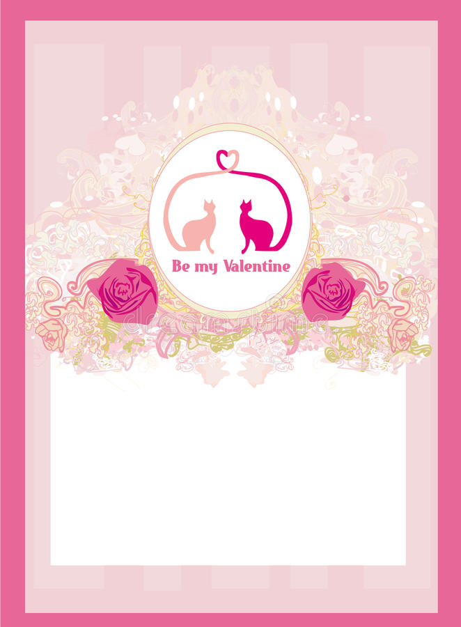 Карточка Валентайн с котами в влюбленности бесплатная иллюстрация