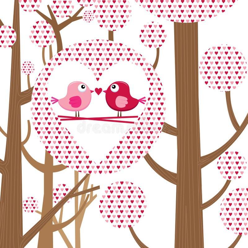 Карточка валентинки птицы влюбленности иллюстрация вектора