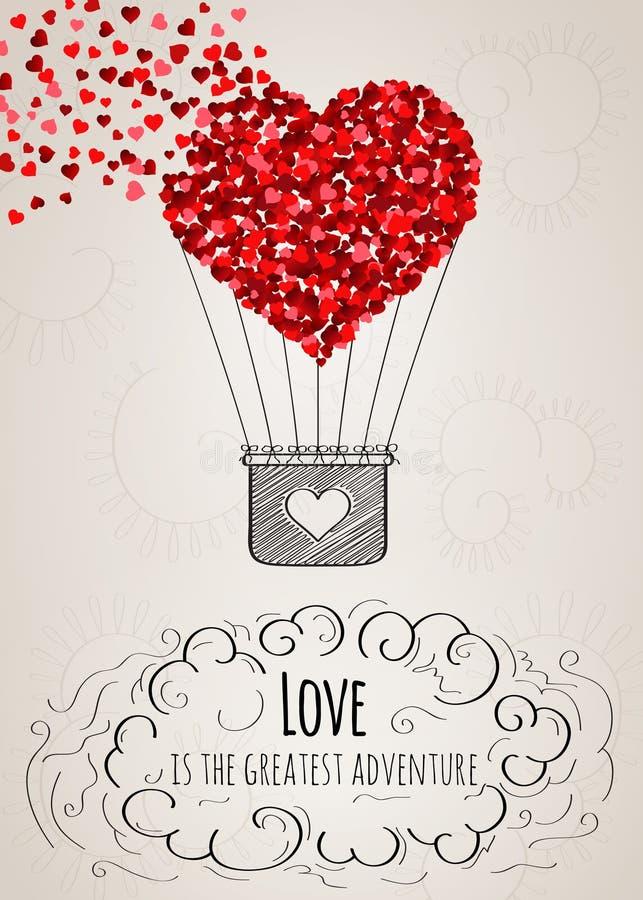 Карточка валентинки с в форме сердц горячим воздушным шаром и лозунгом влюбленности иллюстрация вектора