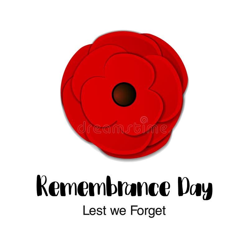 Карточка вектора день памяти погибших в первую и вторую мировые войны День Anzac Отрезанная бумагой красная подача мака бесплатная иллюстрация
