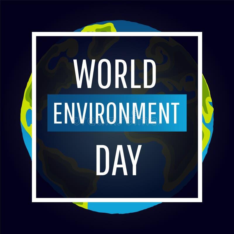 Карточка вектора дня мировой окружающей среды, плакат иллюстрация штока