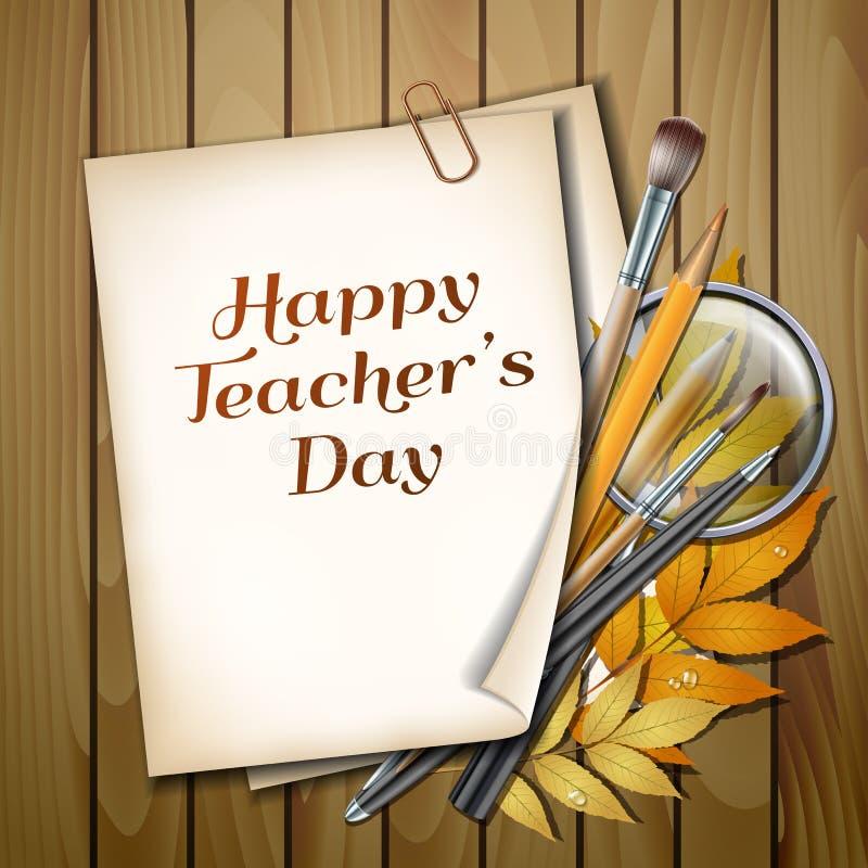 Карточка вектора дня учителя s иллюстрация штока