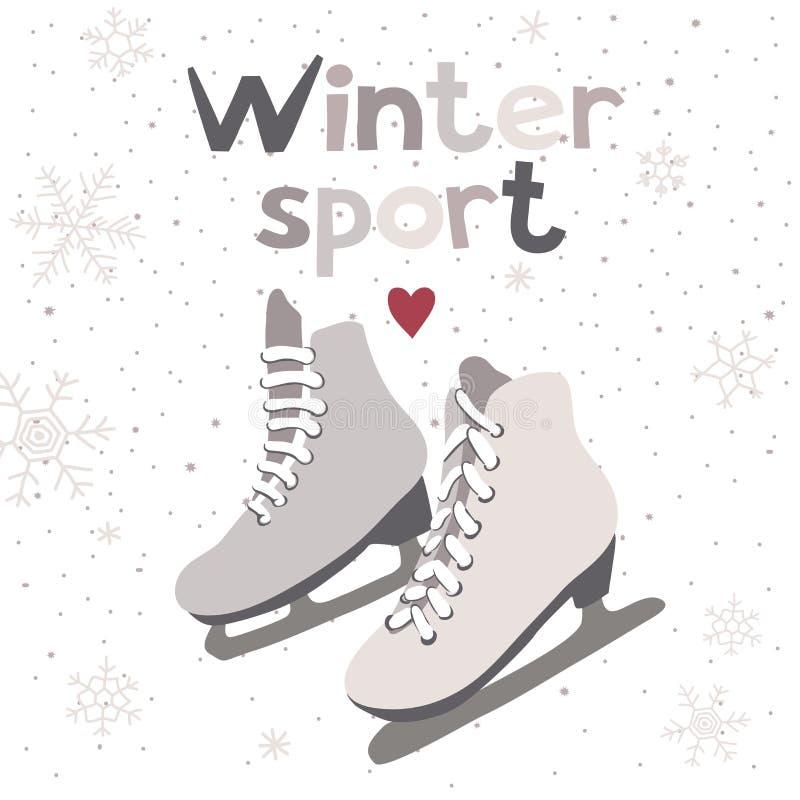 Карточка вектора зимы с коньками льда бесплатная иллюстрация