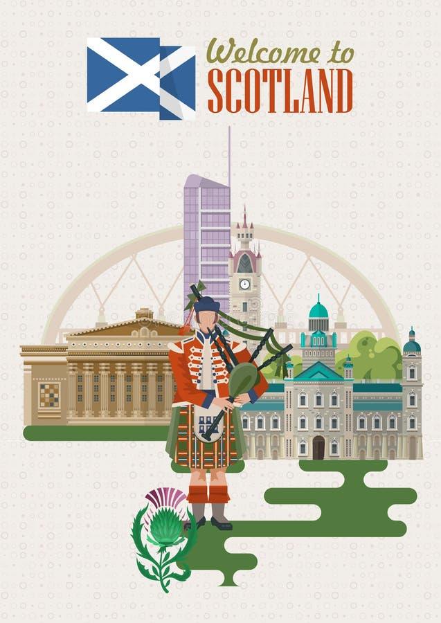 Карточка вектора перемещения Шотландии в современном дизайне Шотландские ландшафты бесплатная иллюстрация