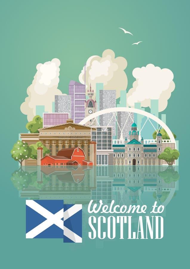 Карточка вектора перемещения Шотландии в современном светлом дизайне Шотландские ландшафты иллюстрация штока