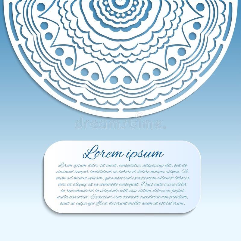 Карточка вектора с голубой и белой мандалой бесплатная иллюстрация
