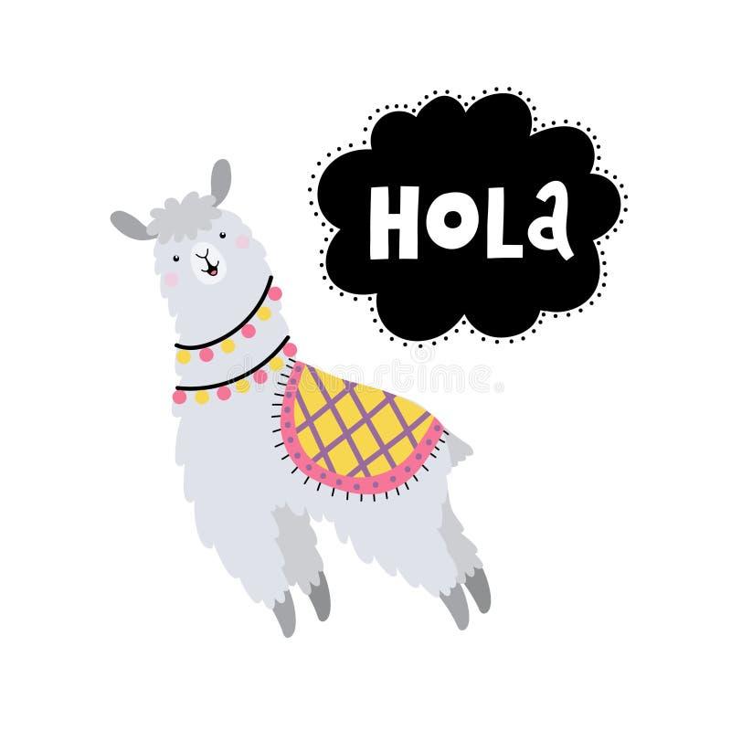 Карточка вектора с ламом и текстом Hola стоковое фото rf