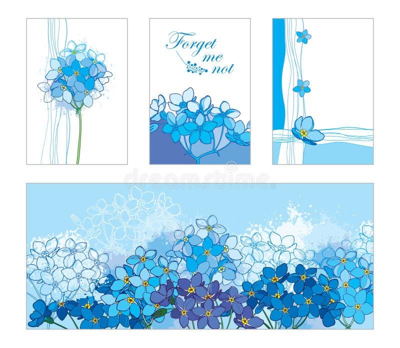 Карточка вектора с планом забывает меня не или пук Myosotis в пастельной сини Флористические шаблоны в сини с незабудкой контура иллюстрация вектора
